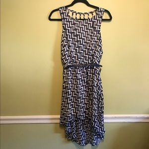 MyMichelle Chevron Dress Navy/White Women's Sz M